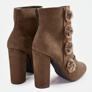 Shoes - Brown Suede PomPom Heeled Booties!